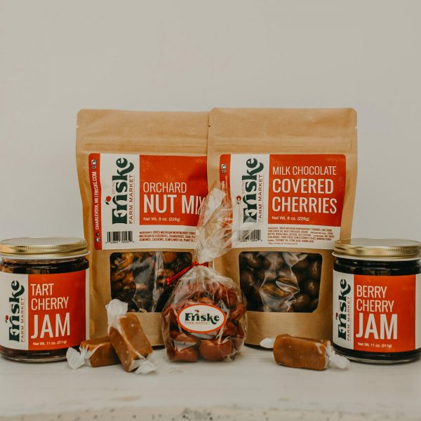 Friskes Farm Market Michigan Charlevoix very cherry gift box corporate business gifts jam caramels chocolate covered dried cherries corporate client gifts