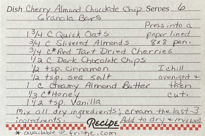 Cherry Almond Chocolate Chip Recipe