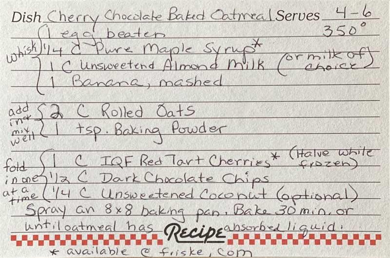 Cherry Chocolate Baked Oatmeal Recipe