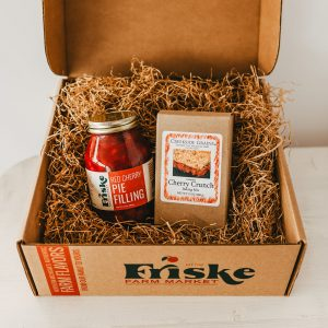 Friskes Farm Market Michigan Charlevoix cherry crunch gift box cherry pie filling corporate gifts sour cherry